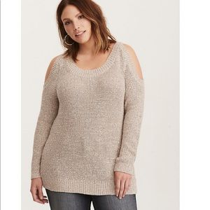 Torrid Tan Cream Knit Cold Shoulder Tunic Sweater